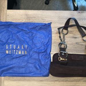 Stuart Weitzman Suede Hand Satchel-Dark Chocolate